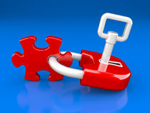 Lock, key and puzzle piece Royalty Free Stock Image