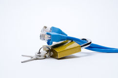 Lock With Key Securing Network Cables Royalty Free Stock Image