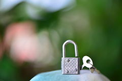 Lock and key silver metal Stock Photo