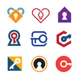Lock and key of success in life adventure logo icon Royalty Free Stock Photo