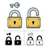 Lock and key - vector icon set Stock Photos