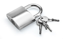 Lock with key on white Royalty Free Stock Images