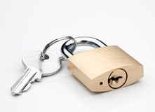 Lock. And key on white background Stock Images