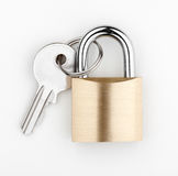 Lock. And key on white background Stock Image