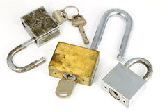 The lock and key on white background Stock Photography