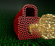The lock and key of zeros and ones on a background of green digits zero and one. 3D illustration Royalty Free Stock Image