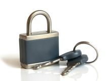 Lock with keys. Isolated on the white background Royalty Free Stock Photo