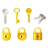 Lock and keys. Several different Locks and keys Royalty Free Stock Photo