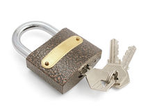 The lock with keys. The closed lock with keys.The image contains a contour for cropping Stock Image