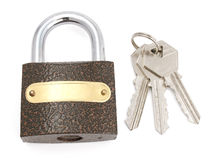 The lock and keys. The closed lock and keys.The image contains a contour for cropping Stock Photography