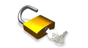 Lock with keys. Shine lock with keys on a white isolated Royalty Free Stock Images