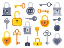 Lock with keys. Golden key, access padlock and closed safe padlocks isolated flat vector set royalty free illustration