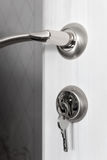 Lock with keys installed in the door Royalty Free Stock Image