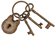 Lock and keys on a ring isolated on white Royalty Free Stock Photos