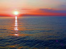 Lock Korsika för solnedgångstrandö Fotografering för Bildbyråer