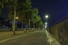 Lock längs en bana med en sikt av Rhentornet i backgrouen arkivfoton