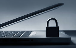Lock on laptop keyboard Royalty Free Stock Image