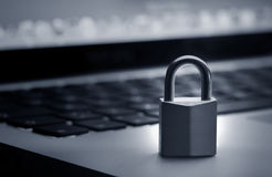 Lock on laptop keyboard Royalty Free Stock Images