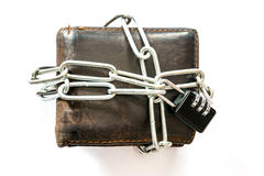 Lock leather purse with key chain. Stock Photo