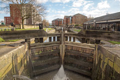 A lock on the Leeds Liverpool canal Wigan. Lancashire Stock Photography