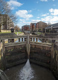 A lock on the Leeds Liverpool canal in Wigan Stock Photo