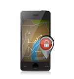 Lock location on a mobile gps app Stock Images
