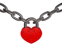 Lock of love - red heart lock and chain Royalty Free Stock Photos