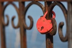 Lock of love. Russian tradition of newlyweds to hang locks and throw out keys stock photography