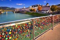 Lock of love in Salzburg Stock Photos