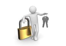 Lock, man and two keys royalty free illustration