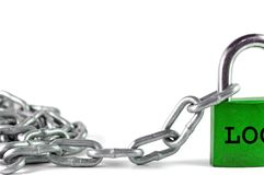 Lock and metal chain Stock Photography