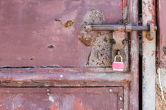 Lock on a Metal Door Royalty Free Stock Images