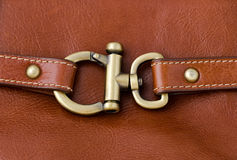 Lock metal ring on Brown Leather Royalty Free Stock Images
