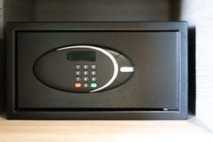 Lock on modern safe box of security metal royalty free stock images