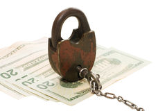 The lock on money Royalty Free Stock Images
