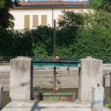 Lock on Naviglio Martesana canal in Lombardy, Italy Royalty Free Stock Images