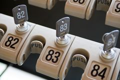 Lock and number. Hotel locker lock and number Royalty Free Stock Images