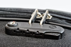 Lock with numbers on suitcase zipper Royalty Free Stock Images