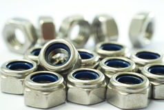 Lock Nut. Isolated Stainless Steel Lock Nut on white background Royalty Free Stock Photos