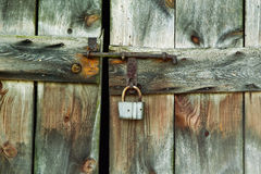 Lock of the old barn door Royalty Free Stock Photo