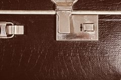 Lock of an old brown leather suitcase Stock Image