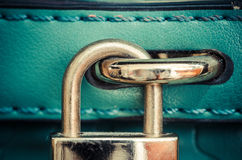 Lock. Old green bag lock in vintage style Royalty Free Stock Images