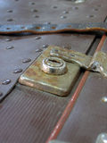 Lock of old suitcase. The rusty lock of old, brown travellers suitcase Stock Image