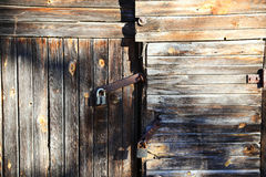 Lock on old wooden door Royalty Free Stock Photography