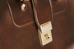 Lock On Leather Business Briefcase Stock Photography