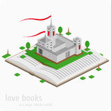 Lock on the open book. Vector illustration for the book - Castle.Read books concept. Education and school, study and literature Royalty Free Stock Image