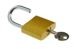 Lock open and key Royalty Free Stock Images