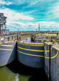 Lock opening at the Barage at Cardiff Bay royalty free stock images