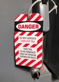 Lock Out tag on an electirical panel Royalty Free Stock Images