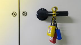 Lockout devices and safety first point. Lock out & Tag out , Lockout station,machine - specific lockout devices and safety first point royalty free stock images